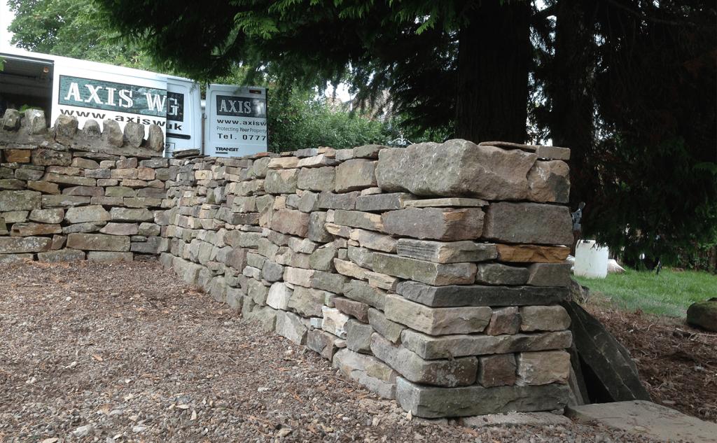Dry stone walling garden wall