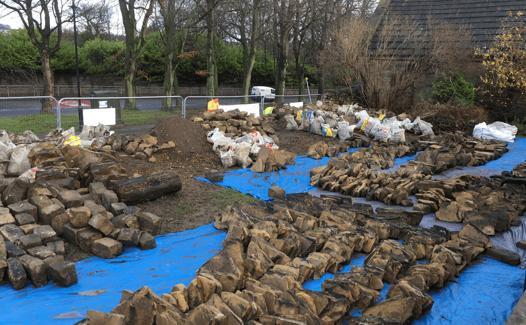 Sorting stone, hearting and backfill soil