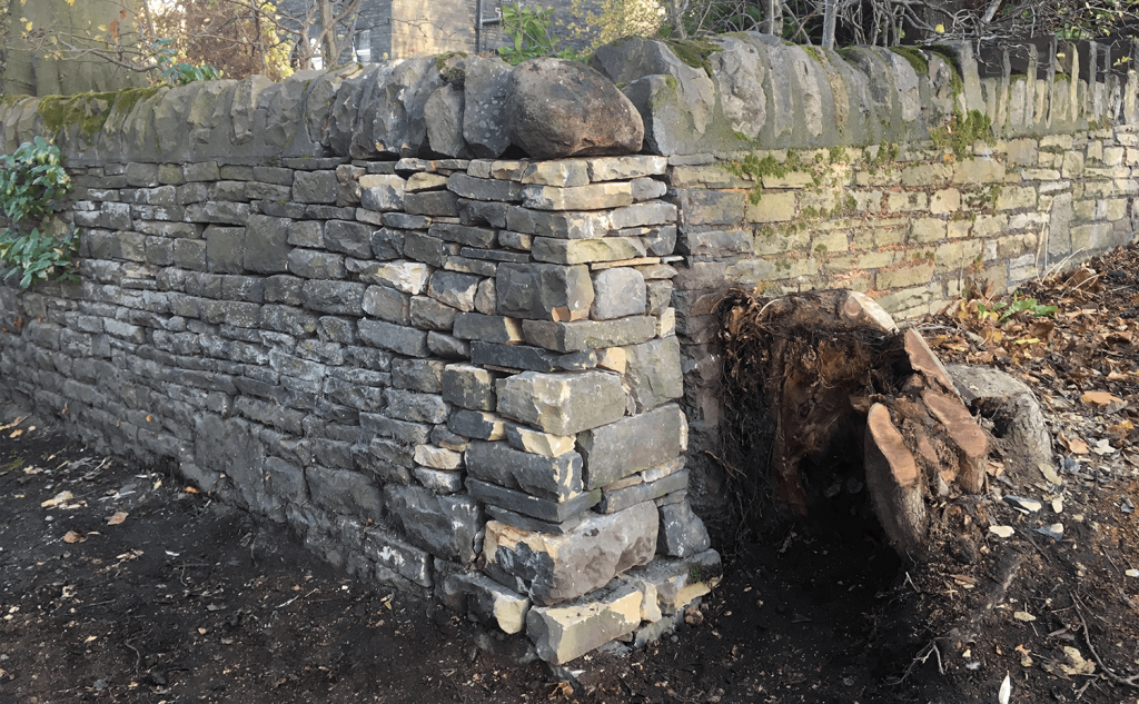Dry stone walling cheek end