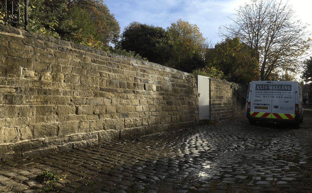 Completed lime mortar wall in context