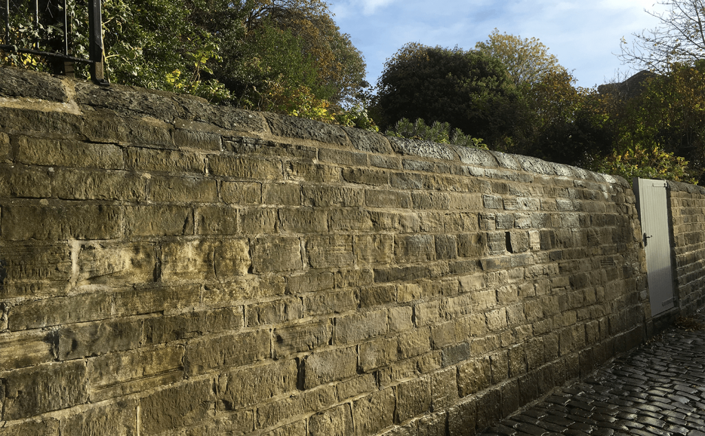 Clear batter on stone wall