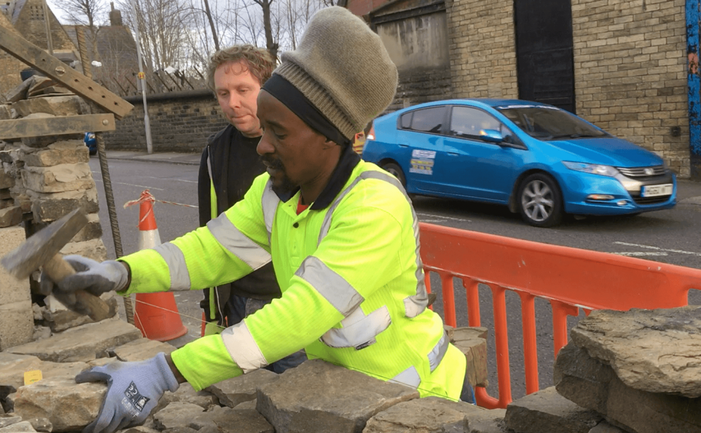 Manningham mixed dry stone & cement mortared walling | Roots